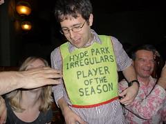 Will Taylor, Golden Bib Winner at the Hyde Park Irregulars End of Season Do