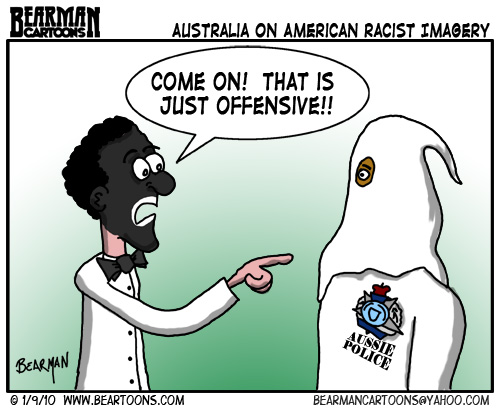 1 9 10 Bearman Cartoon Australia BlackFace KKK