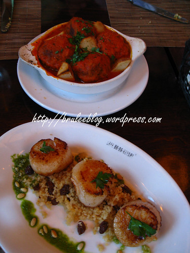 Spanish meatballs and seared sea scallops
