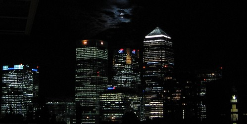 Moonlight over Canary Wharf
