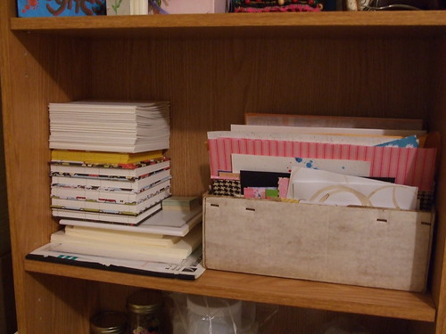 In progress books & scraps box
