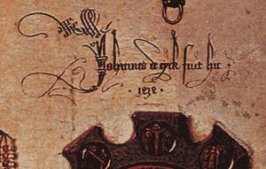 Jan van Eyck -- the Arnolfini Wedding (detail: signature)