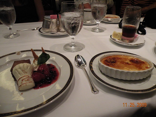 Chocolate Mousse Cake and Pina Colada Brulee