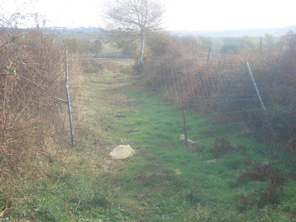 Fuente del Moro, camino cortado ilegalmente por una valla.