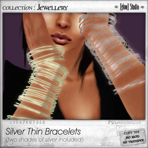 [ glow ] studio - silver thin bracelets (light)