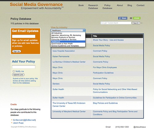 Cool Toys pics of the day: Social Media Governance: Policy Database