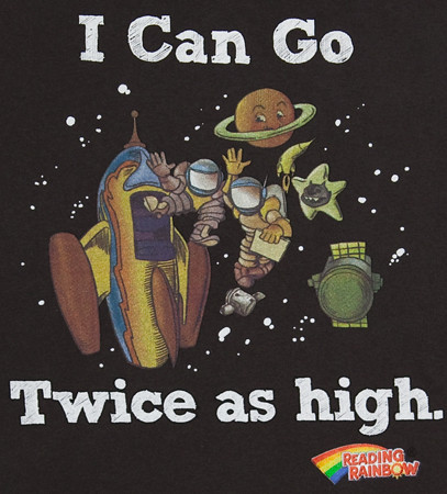 80s Tees Reading Rainbow I Can Go Twice As High Rocket Black T Shirt $24