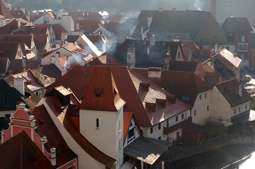 Busy Cesky Krumlov chimneys in the morning