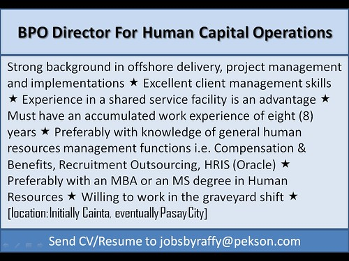 BPO Director for Human Capital Operations
