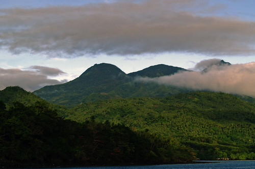 The misty hills of Camiguin in the early morning