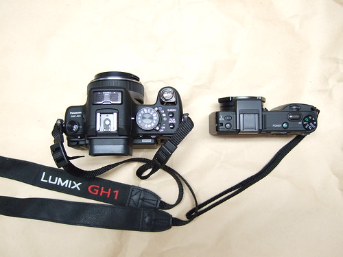 Panasonic GH1 next to Ricoh GX100