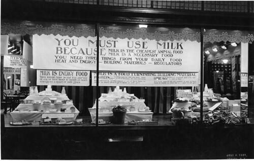 Two views of exhibit in window of Rothschilds' Department Store in Ithaca in 1917 ...