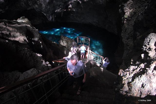 Staircase to Lago de azufre (sulphur lake) - Parque Nacional Los Tres Ojos, Dominican Republic