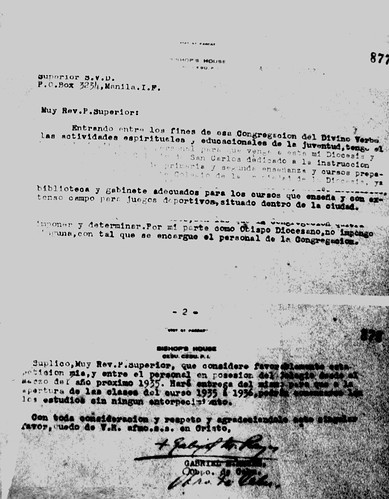 The letter inviting the SVD Superior in Manila to take over the school