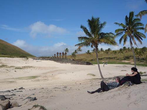 playa de Anakena y ahu Nau Nau