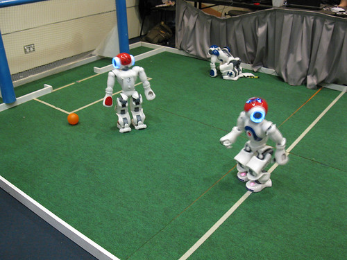 First robot: hmmm, I wonder where the ball is... Second robot: I think I see a ball! *starts running awkwardly*