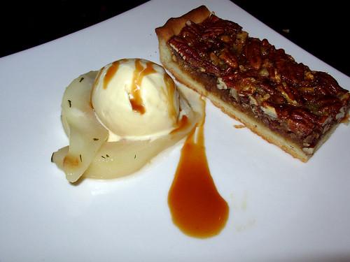 Pecan tart, honey-thyme roasted pears, butterscotch gelato