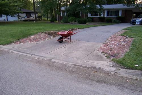 Brick driveway end