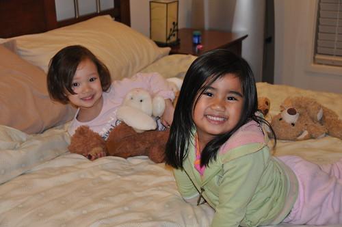 Marga and Tasha playing Teddy Picnic