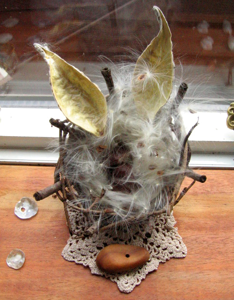 basket of milkweed fluff, a vintage doily, a button i carved from arbutus wood