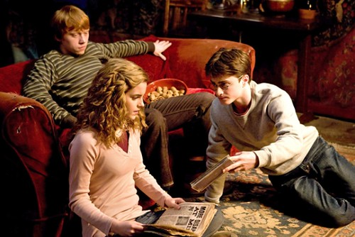 Emma Watson, Rupert Grint and Daniel Radcliffe Harry Potter And The Half Blood Prince movie image
