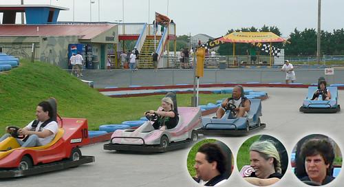 20090806 - Bethany Beach trip - 1 - Go-Karts - Clint, Carolyn, Maria - (by Vicky) - 3806696896_a408892aaa_o