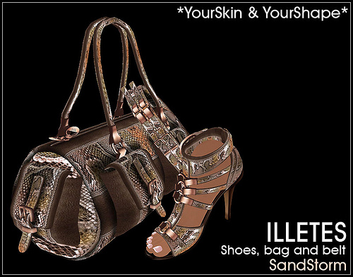 Illetes bag belt and shoes