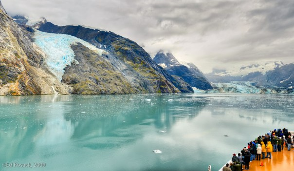 Panorama view of Johns Hopkins Glacier from Cruise ship deck