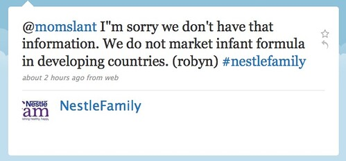 @momslant Im sorry we don't have that information. We do not market infant formula in developing countries.