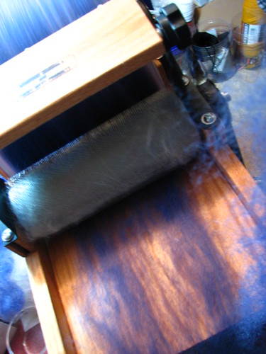 Final Layer of Batt going on Drum Carder
