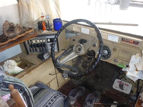 IL, Pontiac 85 - Bob Waldmire bus inside steering wheel