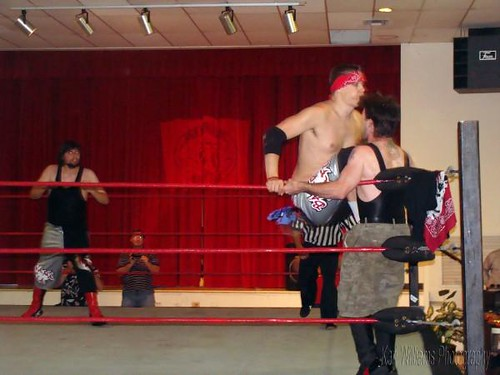 Evan Gelistico and Pierre Abernathy double-team Neil Diamond Cutter and the Blackhart in their attempt to wrestle for the HVW Tag Team Titles