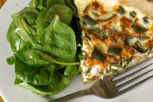 quiche & spinach salad