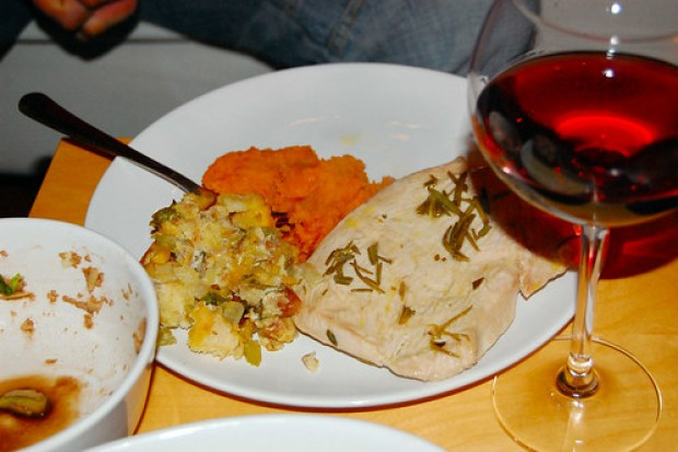 Turkey, stuffing, sweet potatoes, wine