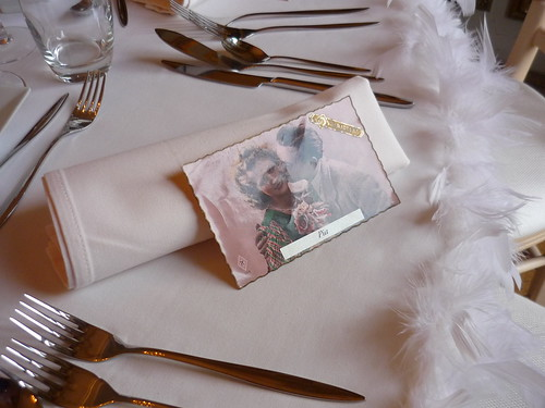 Wedding table with old love letter placement card
