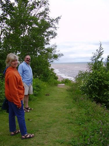 My folks, above the beach