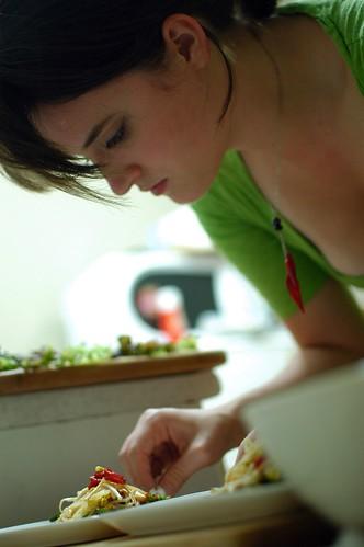 Anna plating the salad
