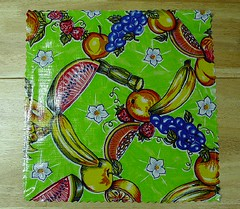 Oilcloth placemat - spill on it, wipe it right off