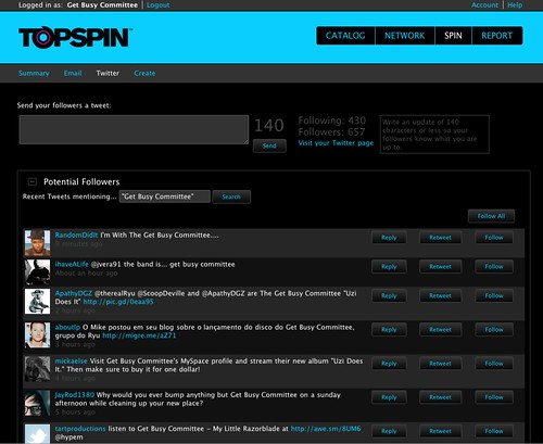 Topspin Twitter Feature