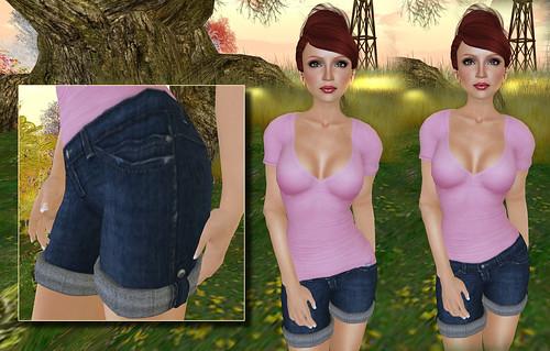 friday basic tee & denim shorts