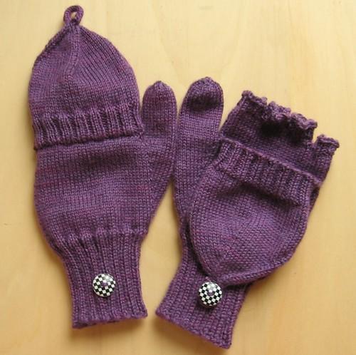 lila Handschuhe