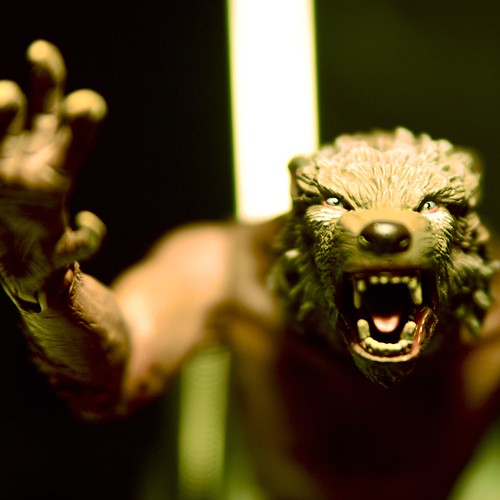 a macro photo of a werewolf toy