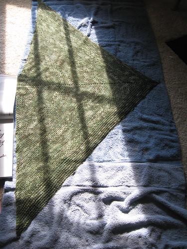 textured shawl - blocking