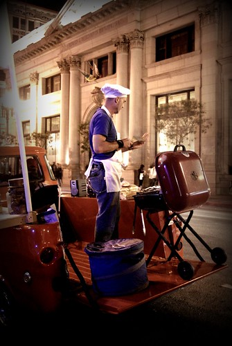 Chef Boyardouche - Grilling Hot Dogs on the back of a truck - DTLA Artwalk October Edition by you.