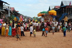 Buddhist celebration in the streets of Kompong Pluk in Siem Reap