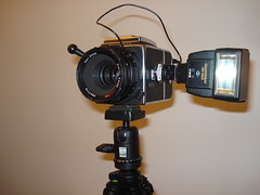 Flash mounted on Hasselblad