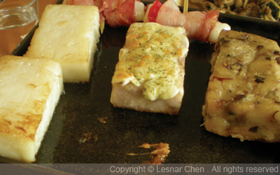 客家鐵板煎米食--起司芋頭糕