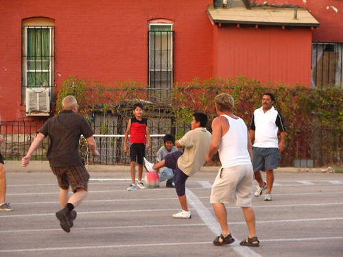 Guest and Volunteers playing soccer at Annunciation House