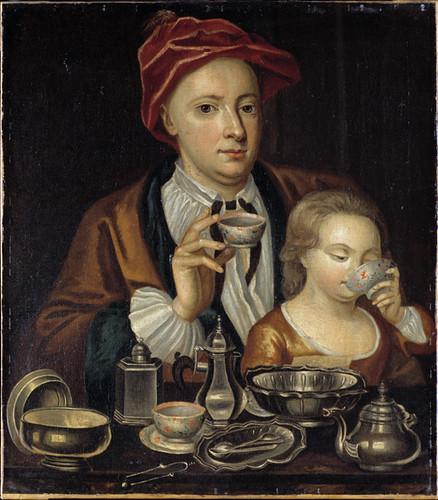 Man and Child Drinking Tea, circa 1720