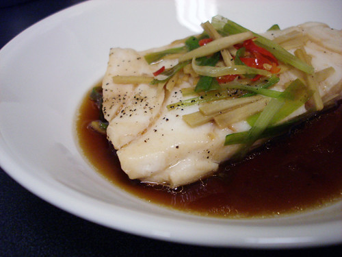 Steamed Chilean Sea Bass with Ginger & Scallions